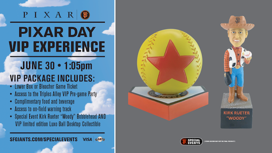 ad for giants pixar day vip package