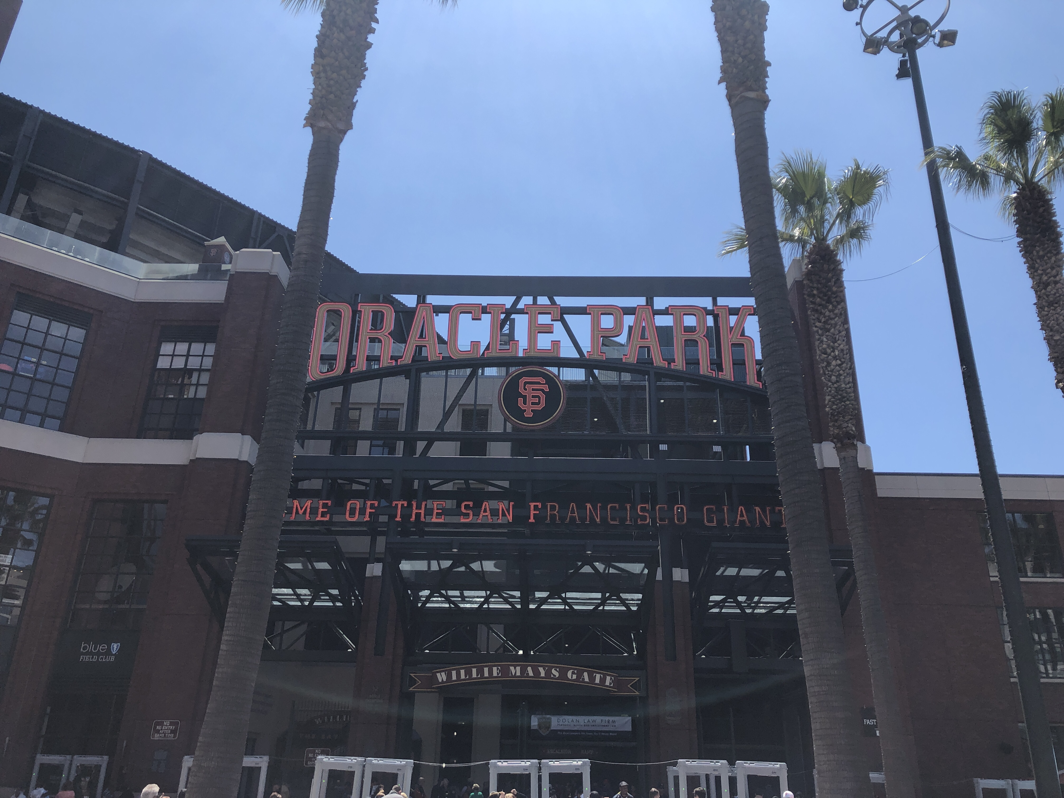 Oracle Park sign on Pixar Day