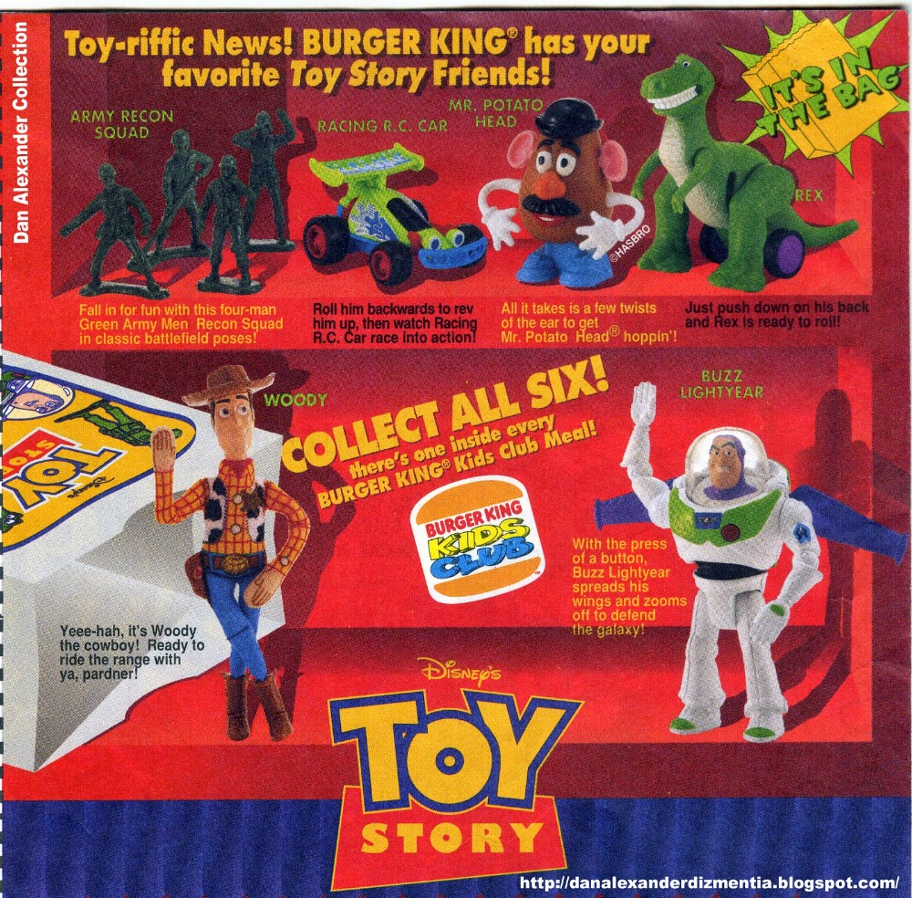 poster to display 1995 toy story burger king toys