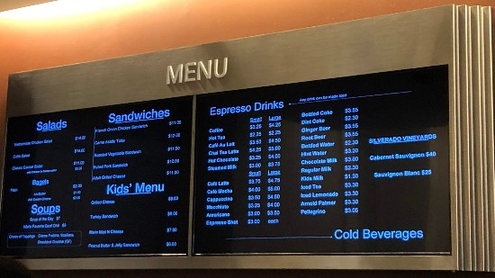 cafe menu at walt disney family museum