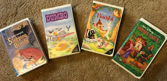 disney vhs collection with bambi dumbo robin hood and sleeping beauty