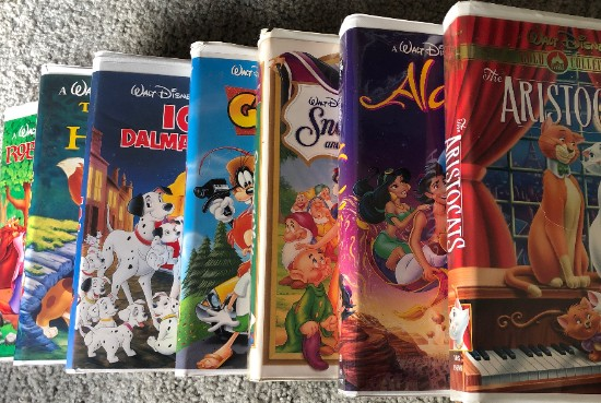 disney vhs tapes in a row